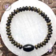 Men's Golden Obsidian Focal Stretch Bead Bracelet